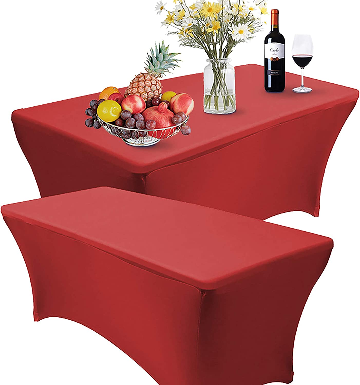 Reliancer 2 Pack 8FT Rectangular Spandex Table Cover Four-Way Tight Fitted Stretch Tablecloth Table Cloth for Outdoor Party DJ Tradeshow Banquet Vendor Wedding Celebration (2PC 8FT, Red)