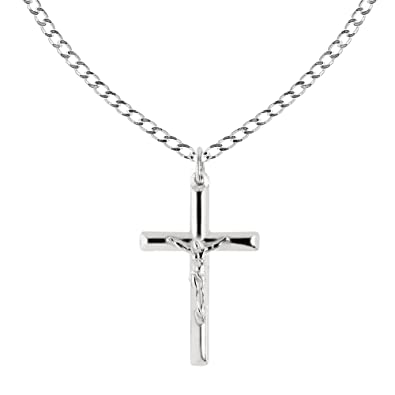 Ritastephens Sterling Silver Italian Crucifix Cross Pendant Only or Chain  Necklace (35mm)