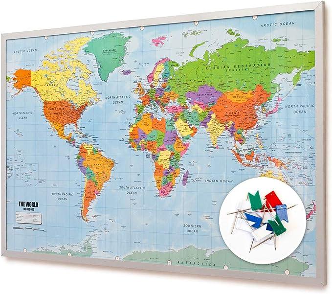 Tablero de anuncios de corcho del mapa mundial con marco 90x60 cm - Tablero de notas de corcho con 20 banderas marcadoras - Tablero de anuncios del mapa mundial Memoboard XXL: Amazon.es:
