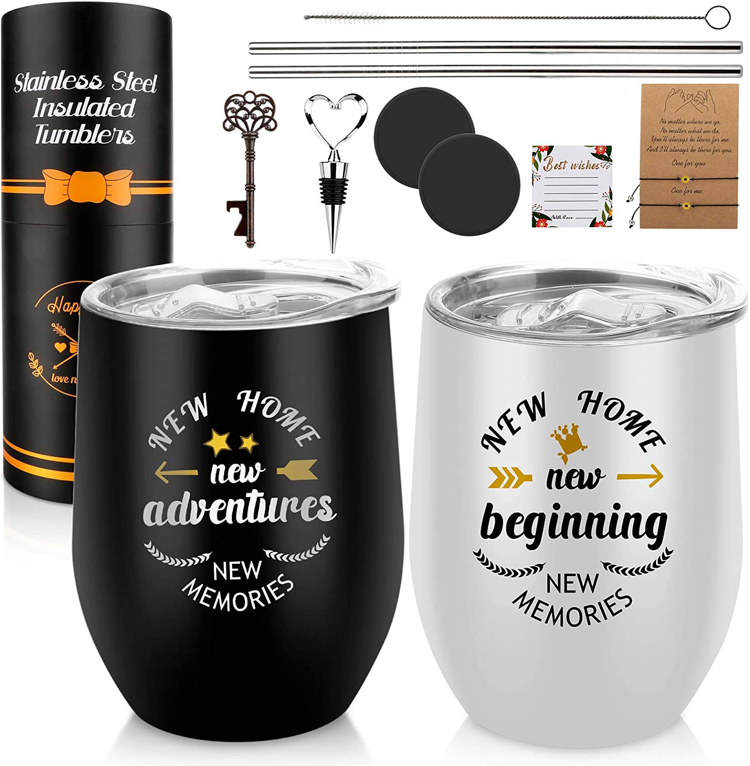 Geelfland New Home Wine Tumblers - Perfect New Home Gifts ,Engagement Gifts For Couples, Bridal Shower Gifts For Bride