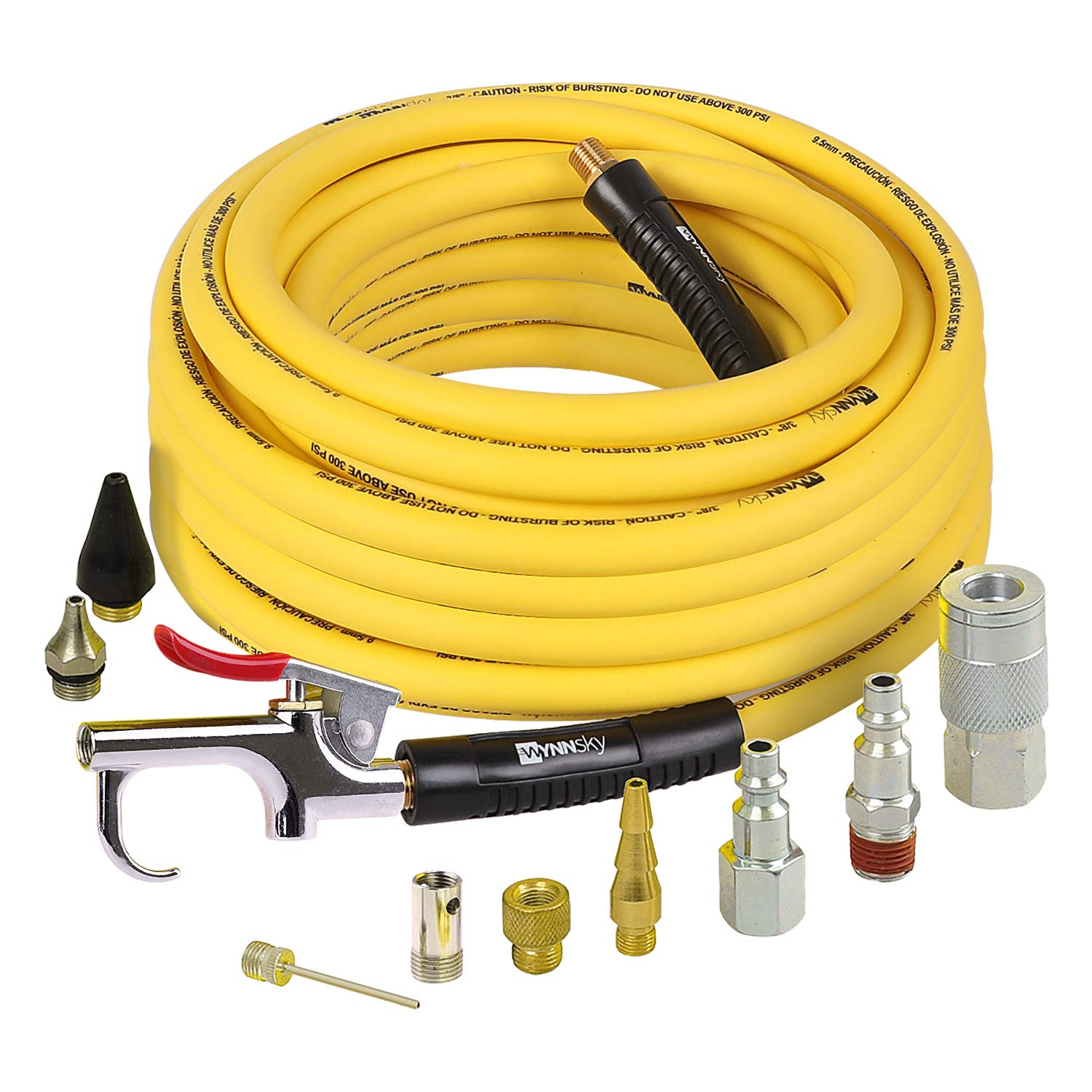 WYNNsky Air Compressor Accessories Kit, 3/8 Inch × 50 Feet Hybrid Air Hose with 1/4 Inch Male NPT Brass Connection, Bend Resistent, 3 Pieces Industrial Air Fittings, Air Blow Gun with 6 Pieces Nozzles by WYNNsky
