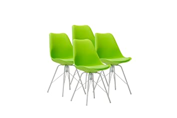 Design Furniture Eames Style Upholstered Dining Chair Set Of 4, Green  Modern Kitchen Dining Room