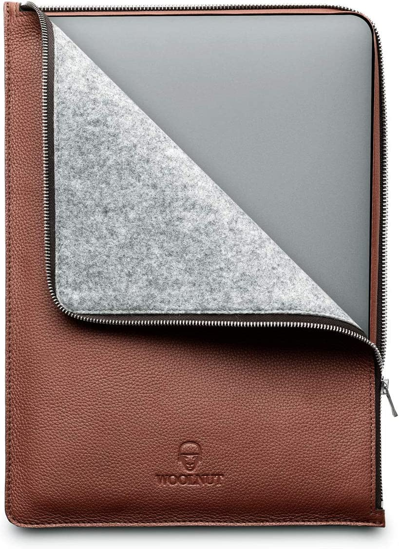 Woolnut Leather & Wool Folio Zipper Sleeve Case Cover, for Dell XPS 15 2020 (9500) and MacBook Pro 15 inch - Cognac Brown