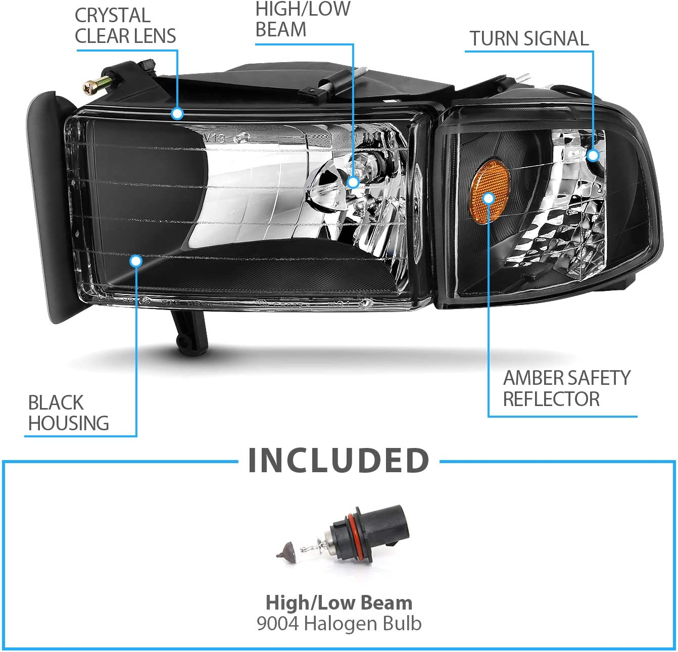Passenger and Driver Side AmeriLite for 1994-2001 Dodge Ram 1500//1994-2002 Dodge Ram 2500 3500 Black OE Style Halogen Headlights Assembly Replacement w//Corner Lights Set