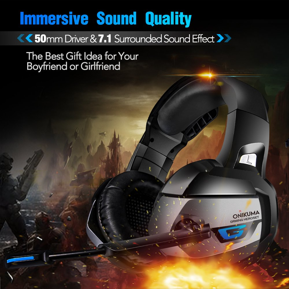 ONIKUMA Gaming Headset for PS4, Xbox One, PC, Gaming Headphones with 7.1 Stereo Surround Sound, Updated Noise Cancelling Mic, PS4 Headset Xbox Headset with Mute & Volume Control for Mac, Laptop, NS by ONIKUMA (Image #2)