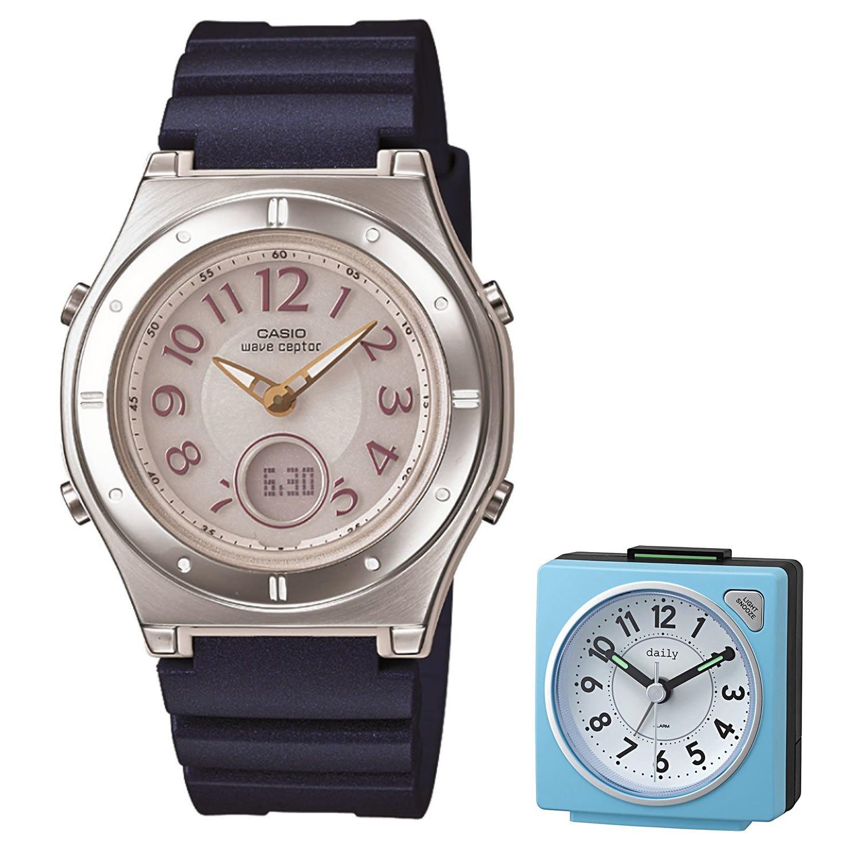 【セット】[カシオ]CASIO 腕時計 WAVECEPTOR ウェーブセプター レディース 電波ソーラー ネイビー MULTIBAND6 マルチバンド6 LWA-M143-2AJF&目覚まし時計 DAILY 8REA27DN04 ブルー B0798KN9MH