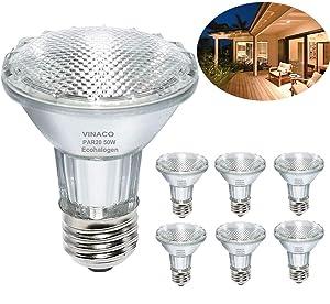 Par20 Bulbs, 6 Pack 120V 50W Par20 Flood Light Bulbs, E26 Medium Base Long Lasting Life High Output Par20 50W Halogen Bulb -Warm Light