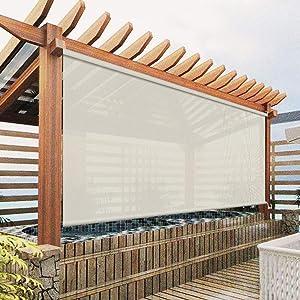 Exterior Roller Shades Cordless Blinds, Beige Custom Outdoor Waterproof Solar Shades Light Filtering Windproof Window Shades for Porch, Gazebo, Patio, Back Yard, Deck, Balcony, Pergolas