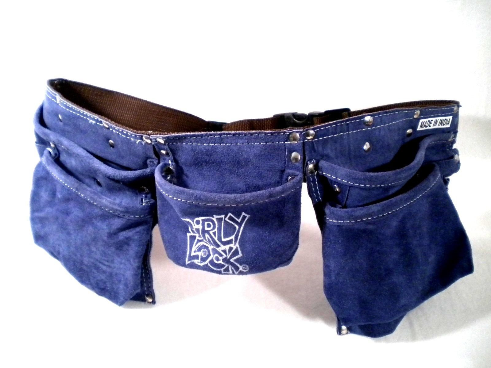 Girly Lock Women Blue Adjustable Leather 11 Pockets Tool Belt