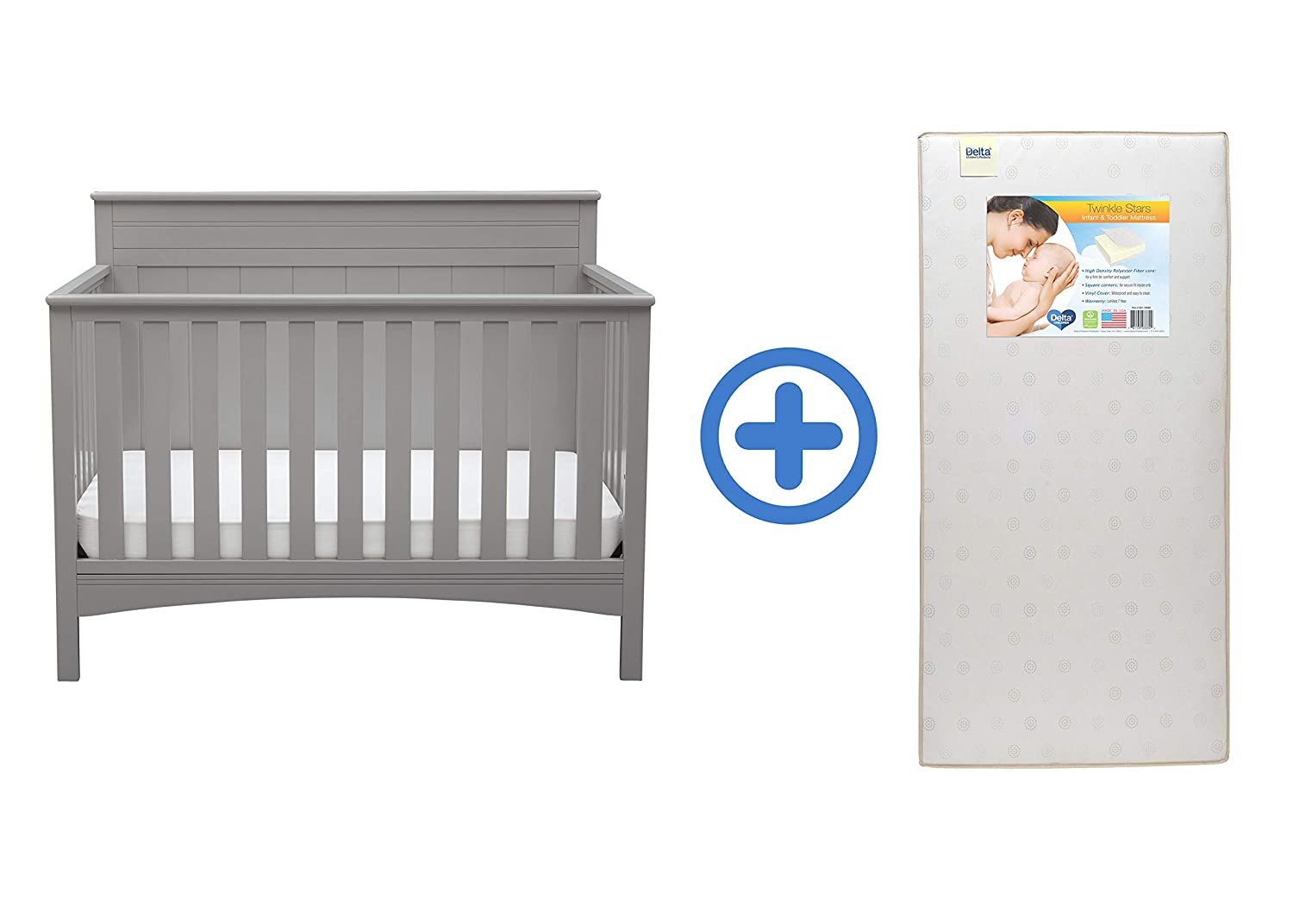 Baby Crib Mattress Critiques Amazon.com : Delta Children Fancy 4-in-1 Crib, Grey with Twinkle Stars Crib  u0026 Toddler Mattress : Baby