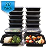 [20 Pack] 32 Oz. Meal Prep Containers BPA Free Plastic Reusable Food Storage Container Microwave & Dishwasher Safe Portion Control Containers & Bento Box Lunch Box