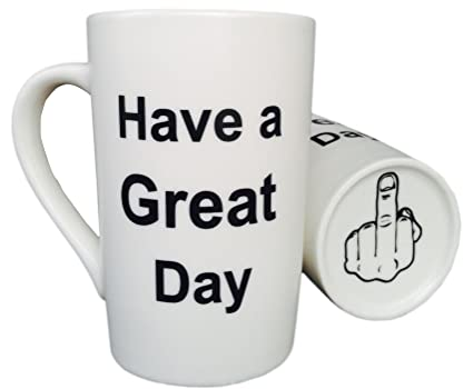 mauag funny christmas gifts porcelain coffee mug have a great day with middle finger on