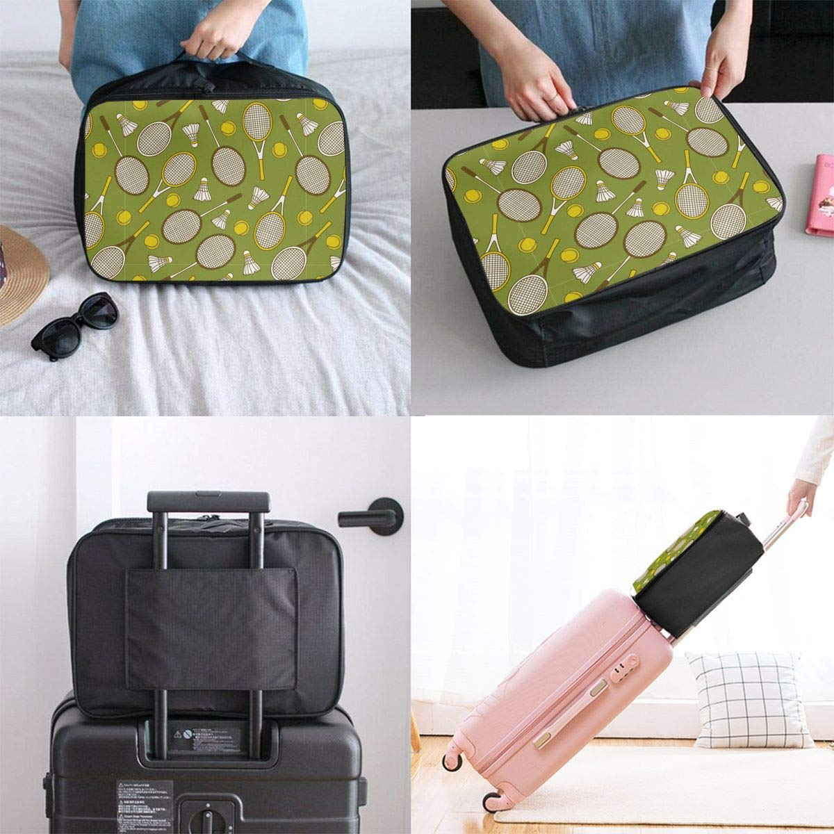 2 JTRVW Travel Luggage Trolley Bag Portable Lightweight Suitcases Duffle Tote Bag Handbag Tennis Rackets And Balls Pattern