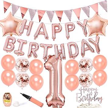 JOYMEMO Rosa 1er cumpleaños Decoraciones para Fiestas de ...