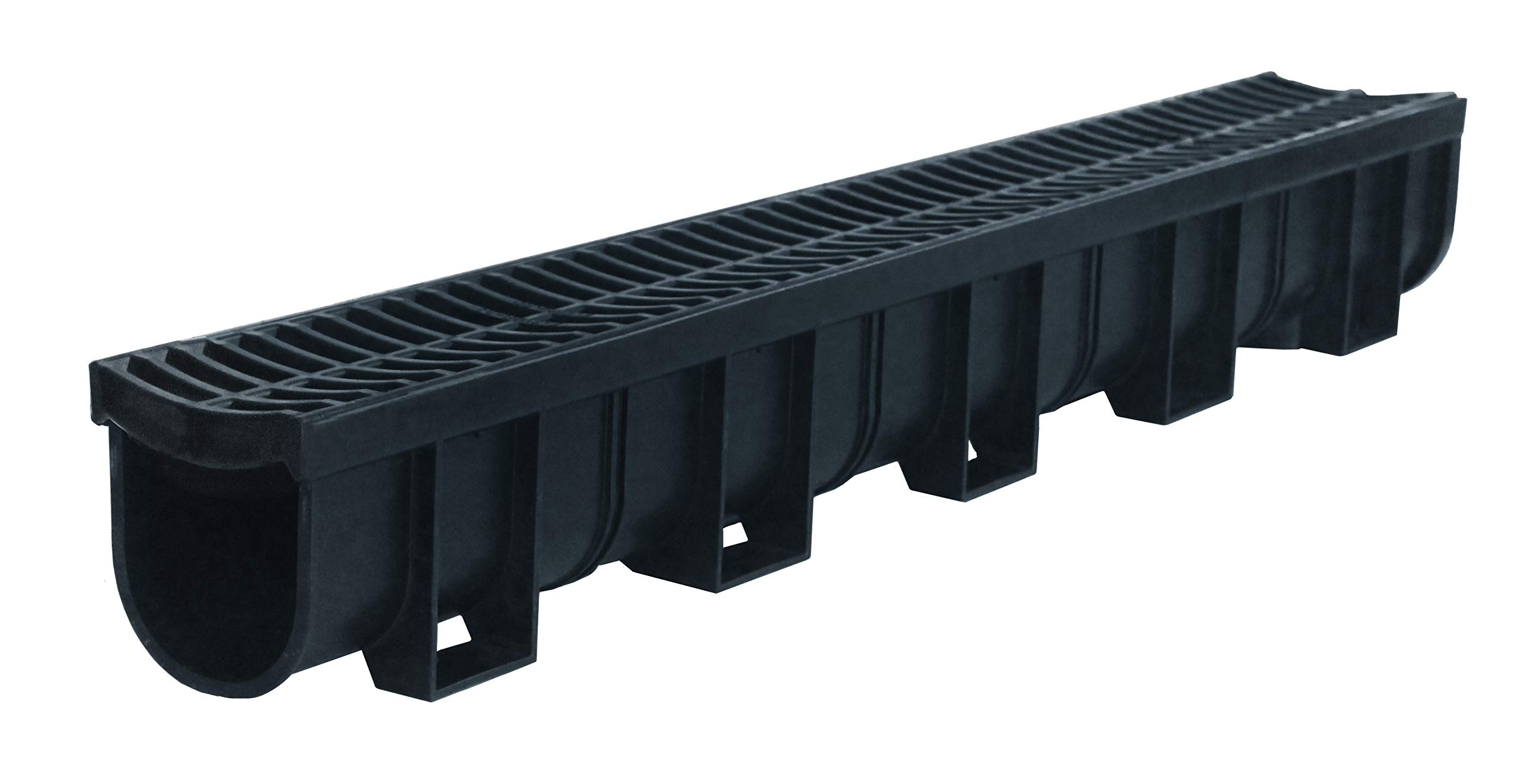 US TRENCH DRAIN, 83300 - 3.33 ft Regular Trench Drain - Black Polymer, Heel Friendly Grate - For Drainage Systems, Driveway, Basement, Pools, etc.