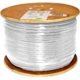 Vertical Cable Cat6, 550 MHz, Shielded, 23AWG, Solid Bare Copper, 1000ft, White, Bulk Ethernet Cable
