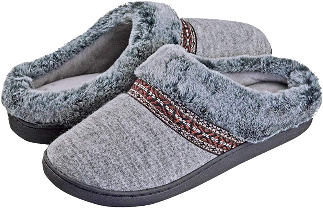 Womens Fuzzy Memory Foam Slippers Slip On Fur Lined Fluffy Comfy Winter Warm Anti-Slip Cozy Plush House Shoes