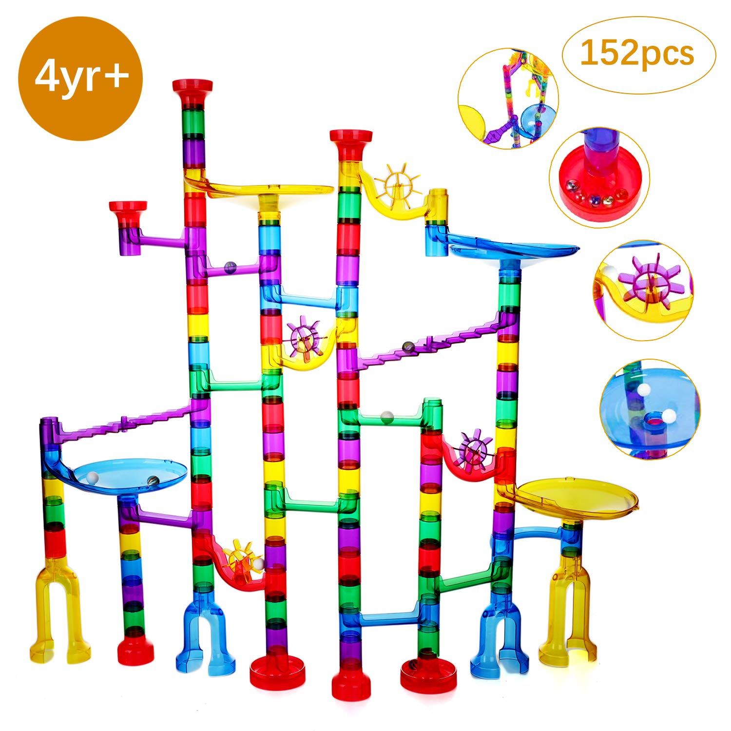 Ucradle Marble Run, 152 Pcs Marble Runs Toy Marble Maze Race Track Game Set, STEM Educational Learning Toy Construction Building Blocks for Kids 4 5 6 7+Years Old Boys and Girls (152pcs marble run)