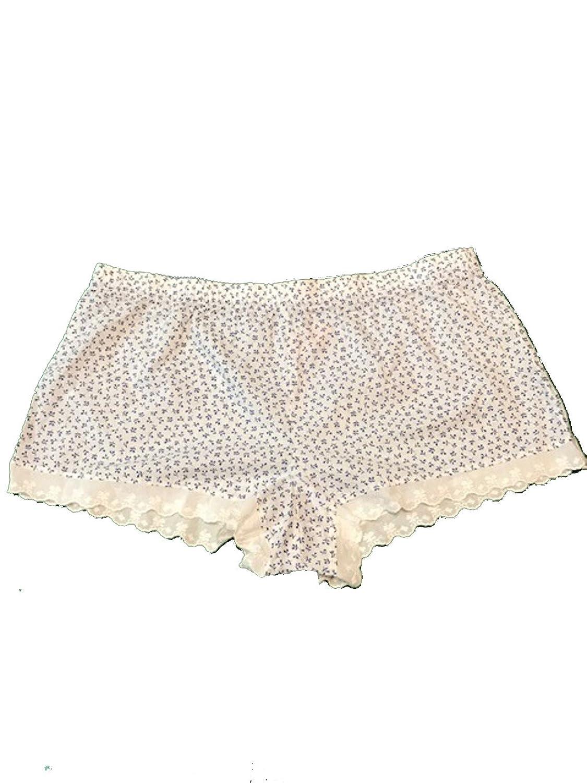 Victoria 's Secret Lace trim Cotton Short Large White Floral Print