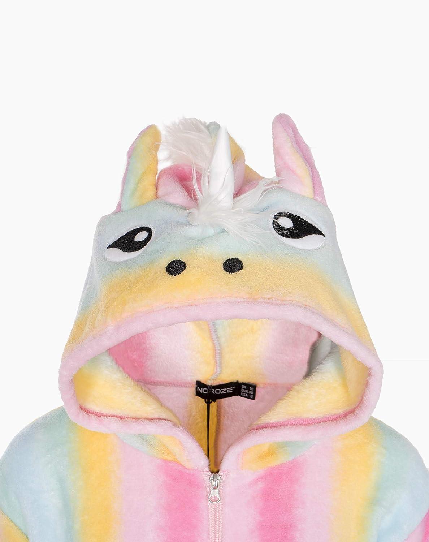 NOROZE Unicorno per Mamma e Figlia Pigiama Intero da Donna in Pile Motivo: Coniglio Tutto in Uno Arcobaleno
