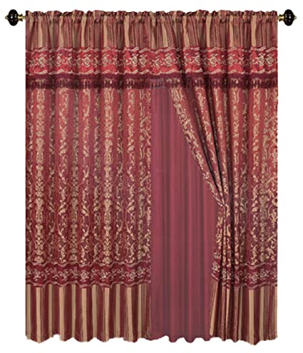 b37e581fedfb4e Amazon.com: Dhadoul Luxury Jacquard Burgundy Gold Curtains Window Panels  with Backing, Valance and tie Backs- Emma D122 (Burgundy): Home & Kitchen