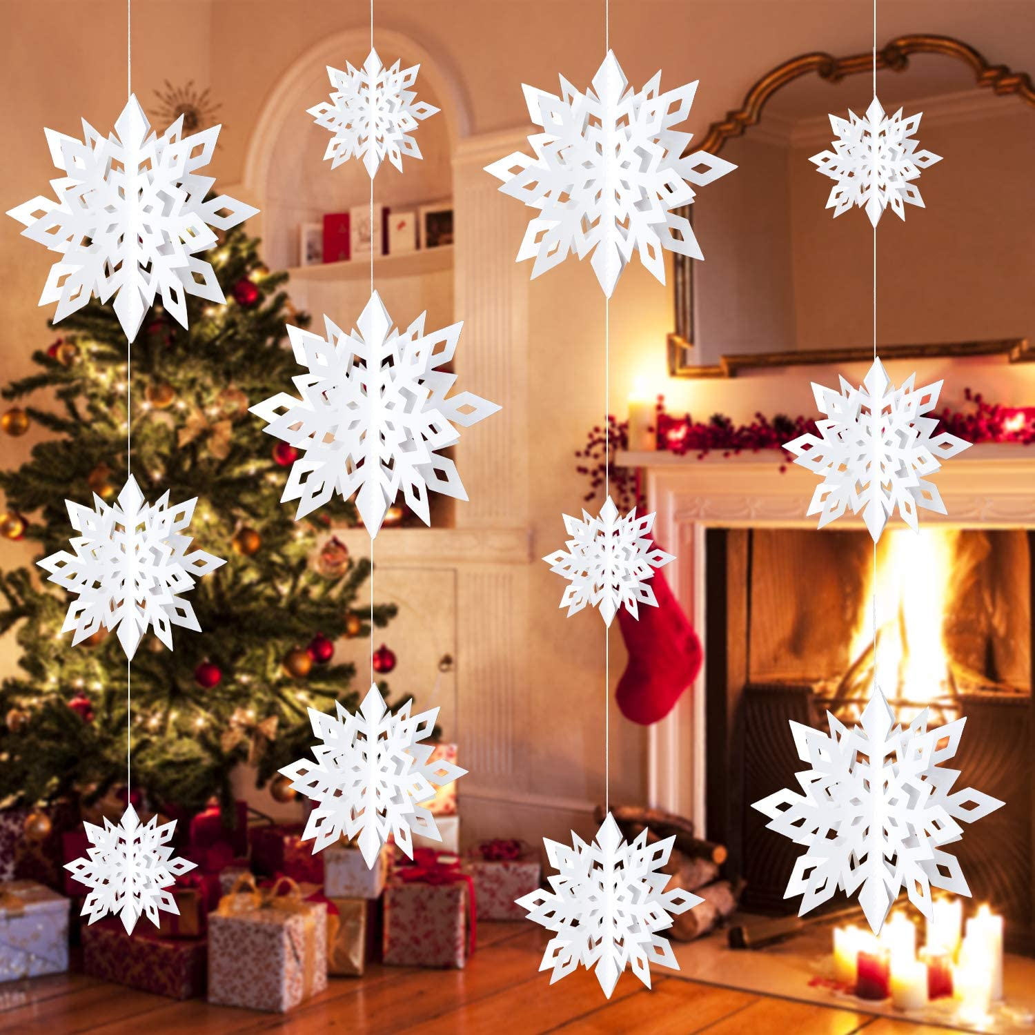 BININBOX Christmas Hanging Snowflake Decorations, 12 PCS Winter 3D Glittery White Snowflakes Garland for Window Xmas Trees Decor, Christmas New Year Party Winter Wonderland Decoration