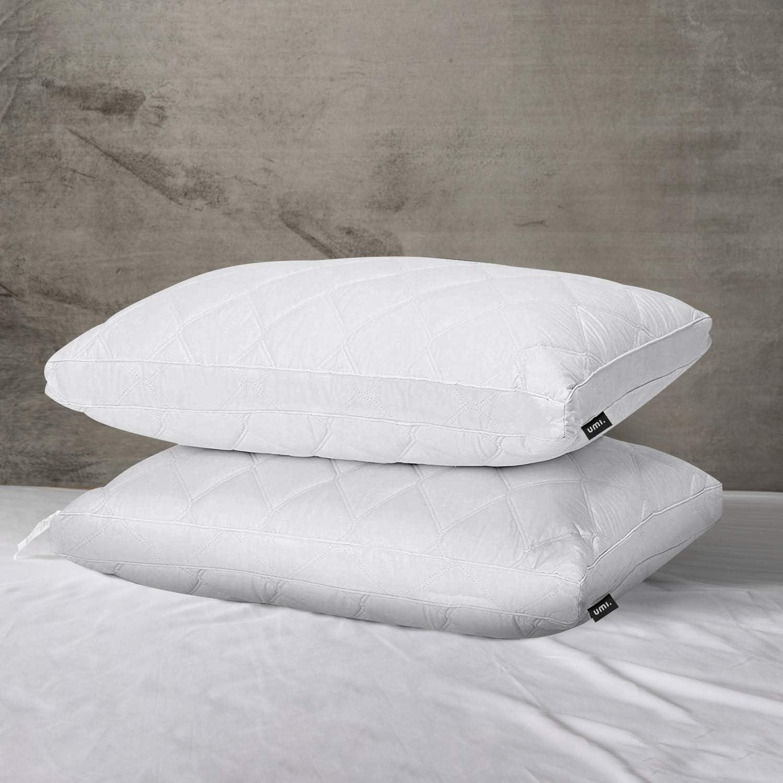 MITTLERE FIRMA-40x80 UMI Doppelpackung Kissen mit wei/ßen G/änsefedern und Stoff aus 100//% Reiner Baumwolle Essentials