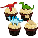 Dinosaurs Kids' Edible Cupcake Toppers - Stand-up Wafer Cake Decorations (Pack of 24)