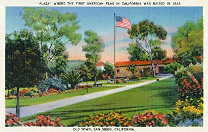San Diego, California   Old Town Plaza Flagpole View (12x18 SIGNED Print  Master Art