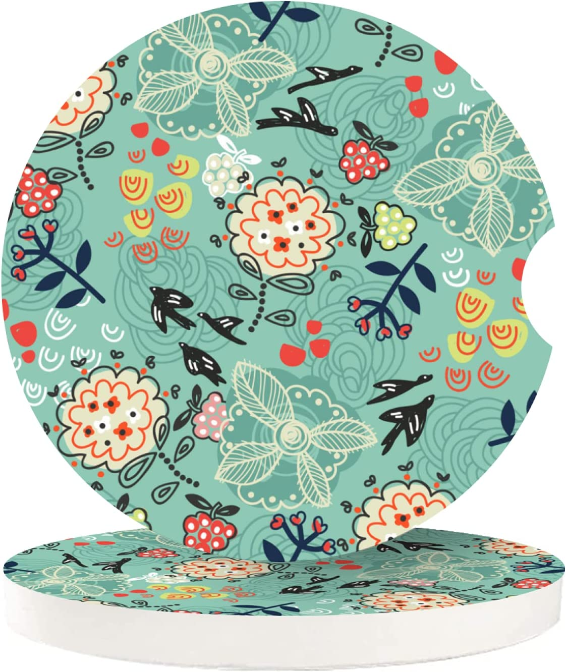 Cupholder Coaster for Your Car 2 Pack Abstract Flowers Plants and Birds On Teal Cork Car Cup Holder Insert Coasters for Drinks Absorbent Women Men Girls Auto Wood Beverage Coasters Set Cool