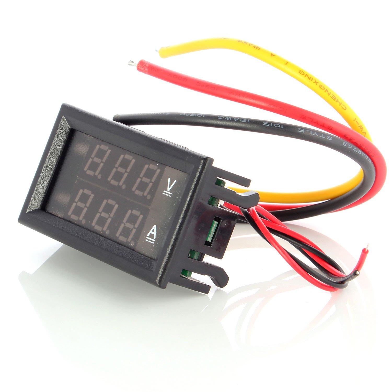 Neuftech Mini Double LED Digital Display DC 100V 10A Digital Voltmeter ammeter meter Panel Blue + Red EU-DoubleShow Voltmeter 10A100V