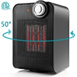 Ceramic Space Heater, Indoor Electric Mini Desk Personal Small Heater, 1500W Oscillating Hot & Cool PTC Heater with Tip-Over and Overheating Protection, ETL Safety for Office Home Floor Under Desk