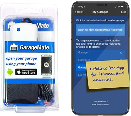 GarageMate Open your garage with your iPhones, Androids, or Apple Watch. Easy'setup. Secure. Bluetooth4.0. Please read description fully before ordering.