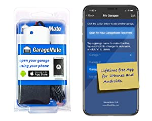 GarageMate: Open your garage with your iPhone or Android. Easy setup. Secure. Bluetooth4.0. Please read description fully before ordering.