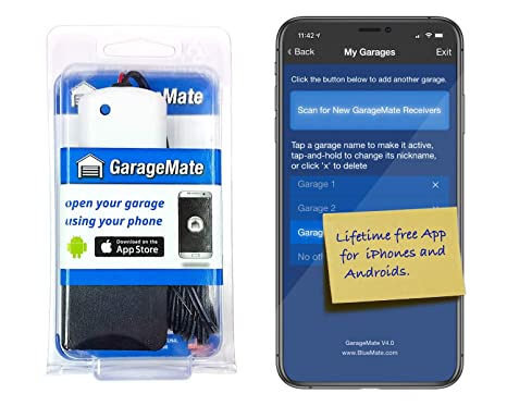 GarageMate: Open your garage with your iPhone or Android  Easy setup   Secure  Bluetooth4 0  Please read description fully before ordering