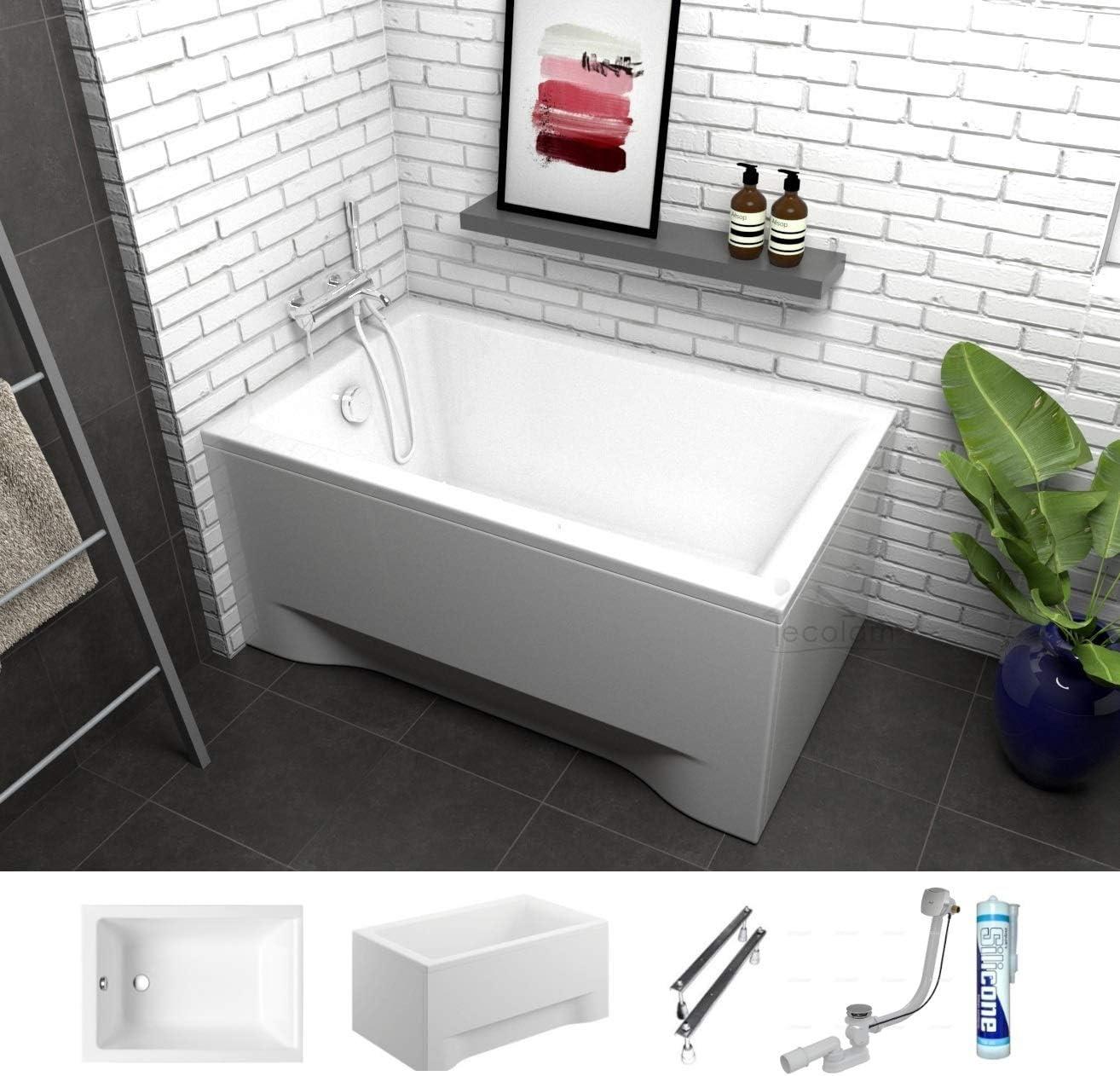 ECOLAM Petite baignoire rectangulaire acrylique Capri 120x70 cm siphon automatique pieds et silicone habillage acrylique