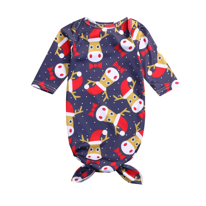 Mini honey Newborn Baby Christmas Gown Baby Boys Girls Santa Deer Print Sleeping Bag Take Home Outfit Set