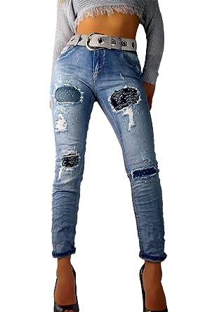 eb33e7662f8b if she Damen Denim Jeans-Hose Super Stretch mit Ornament-Flicken Distressed  blau verwaschen Used Effekt extrem zerfranst Strass Steine