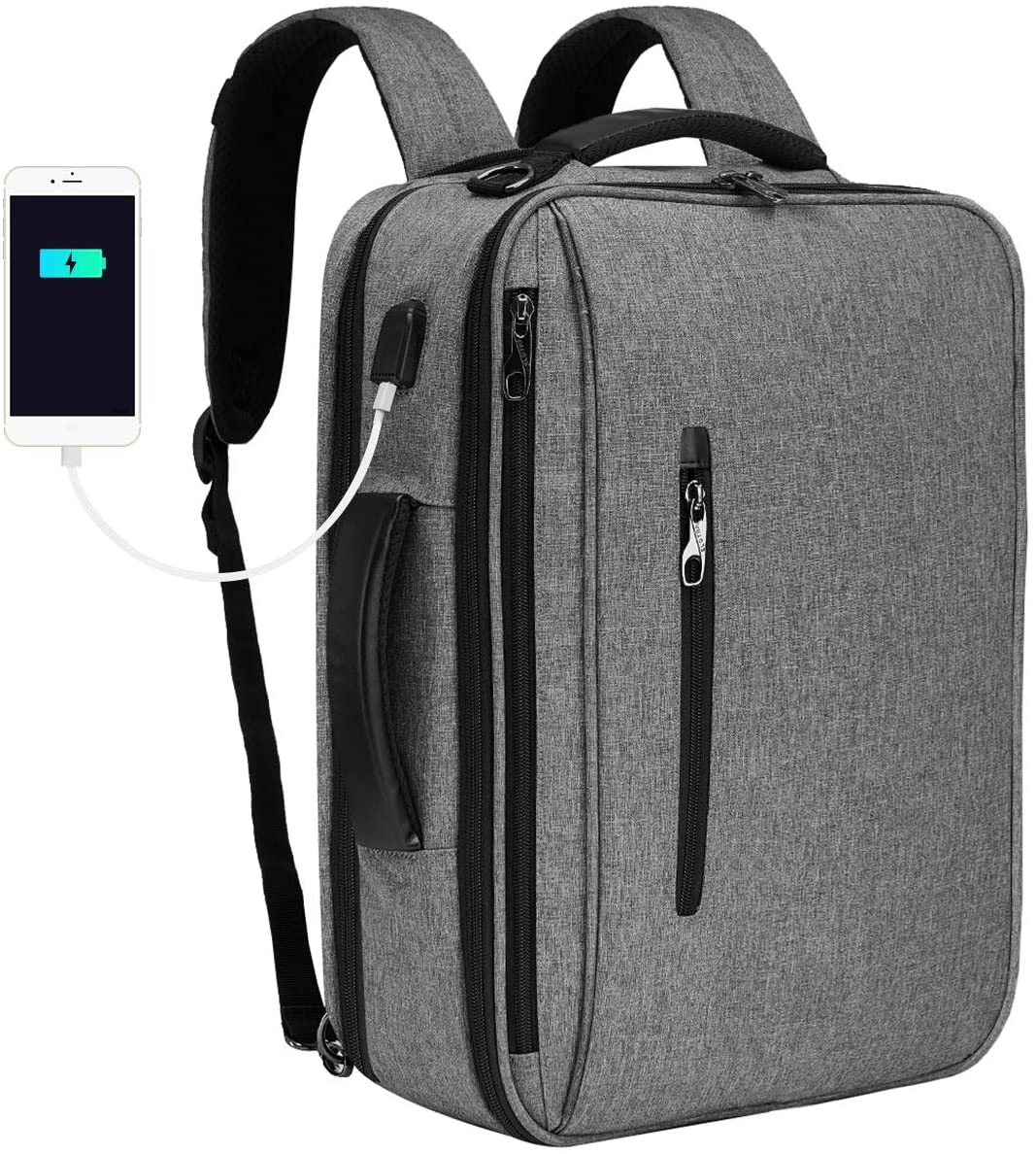 SLOTRA Convertible Backpack 15.6 Laptop Bag 3 in 1 Carry On Backpack Briefcase Messenger Shoulder Bag With Removable Strap Grey