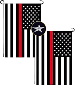 2 Pack Thin Red Line USA Flag with Embroidered Stars, Sewn Stripes, Brass Grommets, UV Fade Resistant, Black White and Red American Police Flag Honoring Law Enforcement Officers (12'' × 18'')
