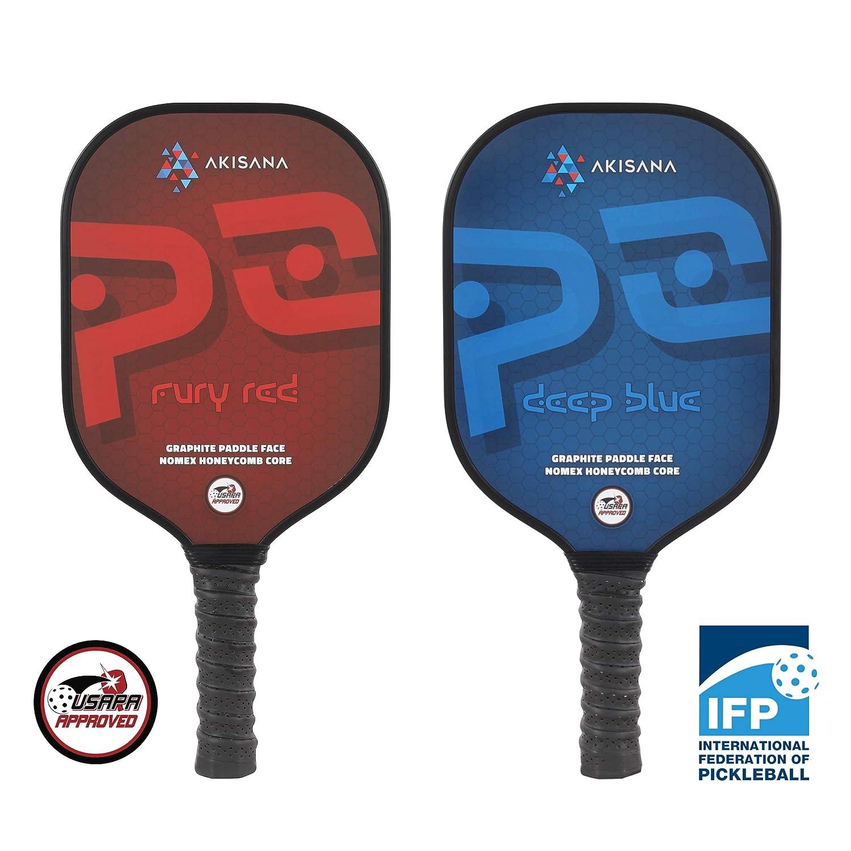 akisana – p2 Pickleballパドル – USAPA承認 – Graphite /カーボンファイバー面 – Nomex Honeycomb Core – 1年保証 – Medium重量8.2 – 8.6オンス – Suitable Acrossスキルレベル B07HRP7RLQ Fury Red - Deep Blue