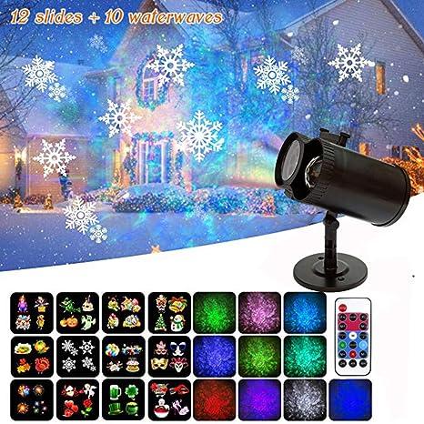 12W LED Projection Light Indoor//Outdoor Lighting 12 Slide Films Christmas Lamp