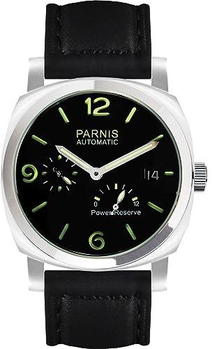 PARNIS 9079 deportivo de acero inoxidable automático de reloj 5bar impermeable 44 mm Cristal Mineral Reloj