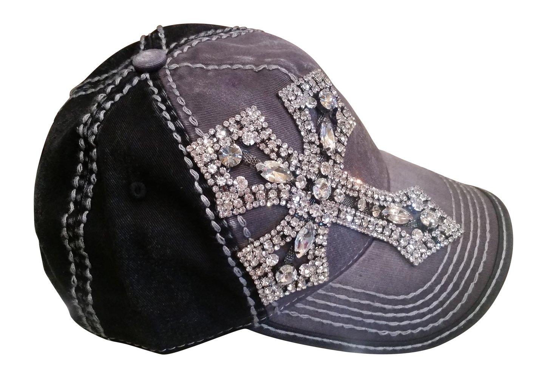 Olive & Pique Women's Rhinestone Cross Bling Baseball Cap (One Size, Charcoal/Black)