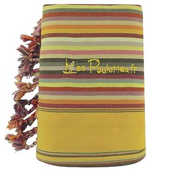 LES POULETTES Kikoy Toalla de Playa de Algodón con Rayas - Color Amarillo Verde: Stephanie Ducauroix: Amazon.es: Hogar