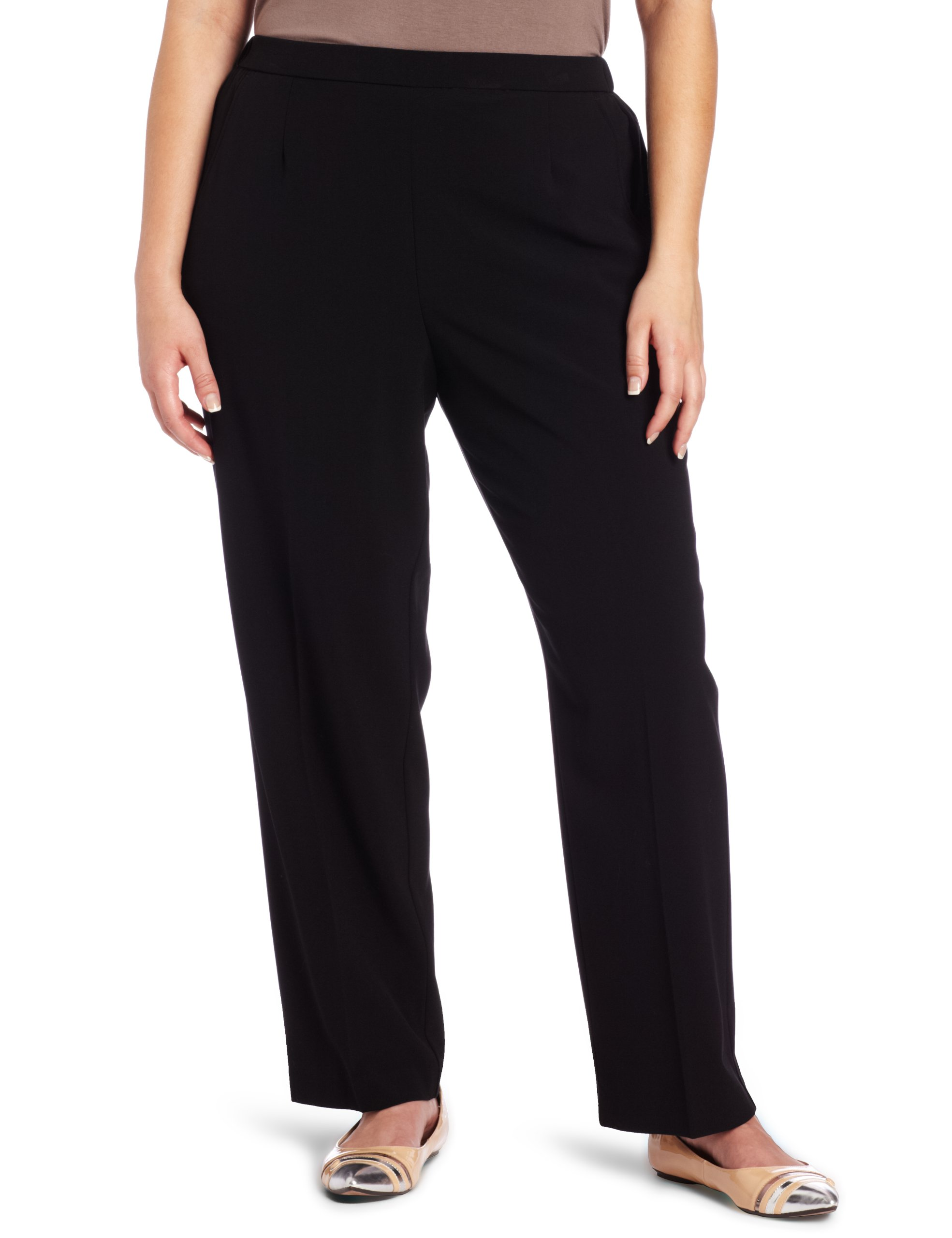 Briggs New York Women's Plus-Size Short Flat Front Pant, Black, 24
