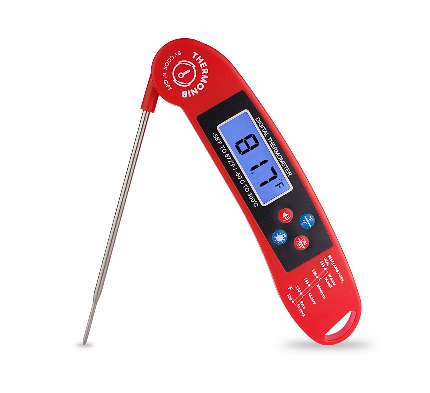 Cook 'n' Gift Thermonib Digital Instant Read Cooking Thermometer Probe - Red