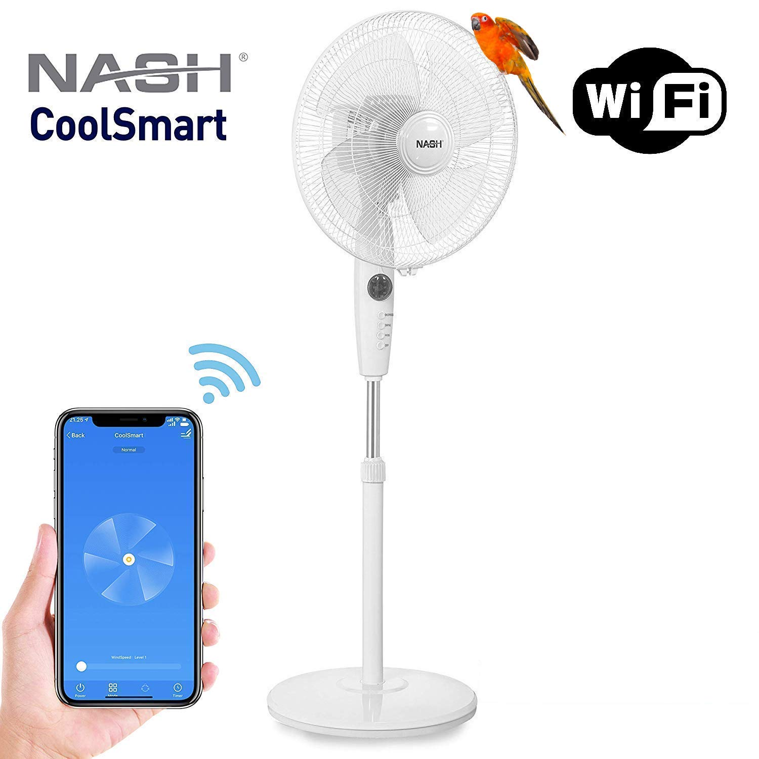 Smart WiFi Oscillating Pedestal Stand Fan 16-Inch, Compatible with Alexa & Google Home Voice Control, APP, Oscillation, Automation, NASH PF-1 CoolSmart. by Nash