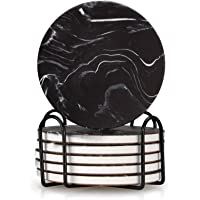 6 pcs Best Drink Absorbent Coasters with Holder Round Marble coasters Ceramic Coaster Cool Black Coasters Decorative…