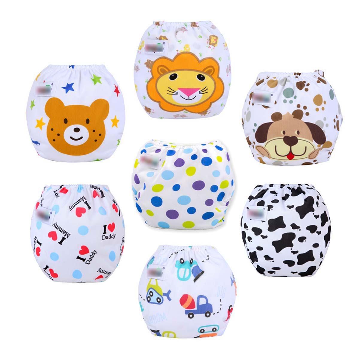 Fygood – Lotto di 7 copri-pannolini di apprendimento lavabili in cotone, regolabili, 7 colori, 35 x 27 cm, per 3-11 kg Set A Couche intérieur: Coton FYN-006-7
